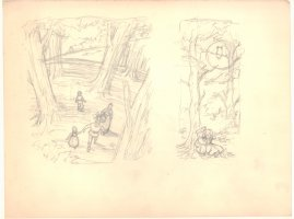 Hansel & Gretel Book Illo Pencil Layouts - 1960s Comic Art