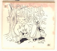 Little Red Riding Hood with Wolf Children's Book Illo - 1960s Signed Comic Art