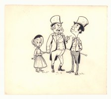 Three Victorian Era People Illo  Comic Art