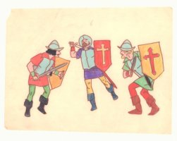 Three Swordsmen Color Art on Velum Comic Art