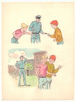 Two Panels of Kids Fighting then Making Up wiith Police Officer Painted Art   Comic Art