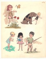 Kids Being Kids 5 Color Illos - Butterfly, Dog, Doll, and Fishing - 1960s Comic Art