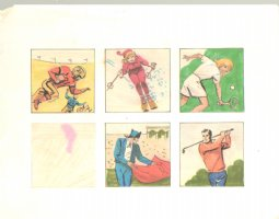 5 Color Sports Insets Football, Skiing, Tennis, Bullfighting & Golf 3 Comic Art