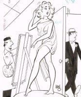 Semi Nude Model / Artist Gag - 1960's Humorama  Comic Art