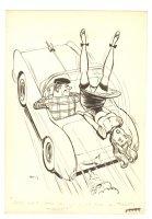 Sexy Upsidedown Girl in Sportscar Humorama Gag - Mad Artist - Signed Comic Art