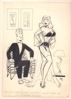 Woman in Lingerie Wedding Gown Humorama Gag - 1957 Signed Comic Art