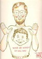 Self Portrait with Alfred E. Newman - LA - MAD Magazine - Signed Comic Art