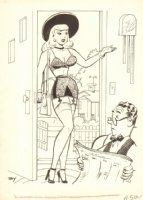 Sexy Babe in Lingerie at Door Gag - 10 x 14 Comic Art
