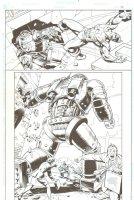 The Amalgam Age of Comics: Super Soldier #1 p.12 - Super Soldier (Combination of Captain America & Superman) vs. Ultra-Metallo in D.C. 3/4 Splash - 1996 Comic Art