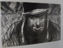 G.I Joe In A Fox Hole Charcoal Drawing  Comic Art