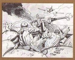 American Machine Gun Nest - 1960's Comic Art
