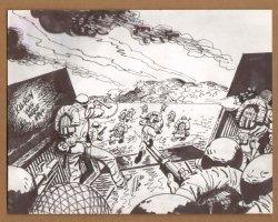 D-Day Beach Assault - 1960's  Comic Art
