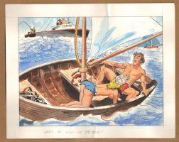 Adult Nudity Painted Art Published Cartoon - Went To The Head Of The Boat! - Late 70's / Early 80's Comic Art