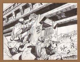 G.I's Blowing The Bridge - 1960's Comic Art