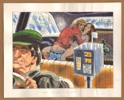 Adult Nudity Painted Art Published Cartoon - We Were Stuck In A Cab! - Late 70's / Early 80's Comic Art