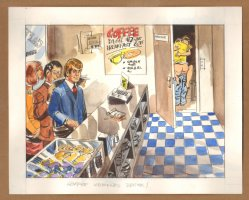 Adult Nudity Painted Art Published Cartoon - Coffee Workers Break! - Late 70's / Early 80's Comic Art