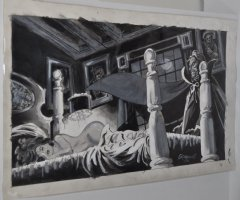 Dracula Stalking Naked Babe in Bed - Black And White Commission  Comic Art