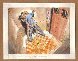 Adult Nudity Painted Art Published Cartoon - Stuck Between Floors On The Way Up! - Late 70's / Early 80's Comic Art