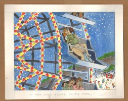 Adult Nudity Painted Art Published Cartoon - We Went Round And Round On The Ferris Wheel! - Late 70's / Early 80's Comic Art
