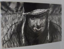 G.I Joe With The 1000 Yard Stare Portrait Charcoal Drawing Comic Art