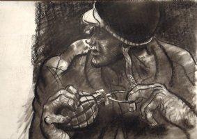 G.I Joe With Grenade Charcoal Drawing  Comic Art