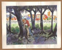 Adult Nudity Painted Art Published Cartoon - We Got Off On Highway 65! - Late 70's / Early 80's Comic Art