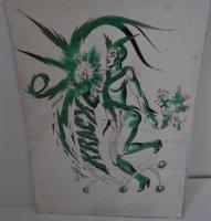 Krack Female Electro Color Design Art - 1970 Comic Art
