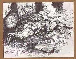 Nazi Machine Gun Nest Drawing - 1960's  Comic Art