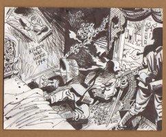 Nazi Machine Gun Nest In Room - 1960's  Comic Art