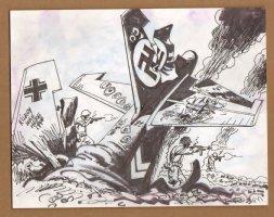 G.I's Fight Next To Shot Down Nazi Plane - 1960's Comic Art