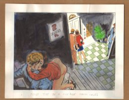 Adult Nudity Painted Art Published Cartoon - First Time On A Highrise Staircase! - Late 70's / Early 80's Comic Art