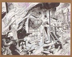 Nazi Firefight In Village Streets - 1960's  Comic Art