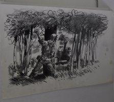 G.I Versus Tank Charcoal/Ink Drawing  Comic Art