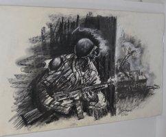 G.I Joe With Thompson vs. Nazi Tank - Black and White Commission  Comic Art