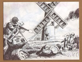 G.I's Fight To Take Over Windmill - 1960's  Comic Art