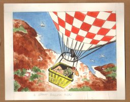 Adult Nudity Painted Art Published Cartoon - A Great Balloon Ride! - Late 70's / Early 80's Comic Art