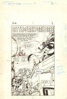 Flash Force 2000 #1 p.2 - 'Battle at Flash Force Base' Title Splash - Matchbox Car Insert Comic Book - 1983 Comic Art