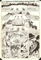 Flash Force 2000 Bonus Comic p.12 - Flash Fighters vs. The Battle Van - Matchbox Car Insert Comic Book - 1985 Comic Art