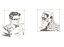 Captain America and Bucky - Sold as a Pair - Signed Comic Art