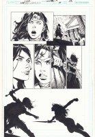 Wonder Woman #39 p.20 - Wonder Woman vs. Donna Troy Sword Fight - 2015 Signed Comic Art