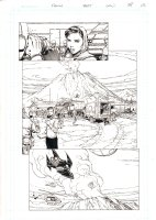 Wonder Woman #38 p.15 - Superman and Active Volcano - 2015 Signed Comic Art