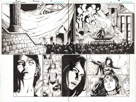 Wonder Woman #39 pgs. 18 & 19 - Amazons make Donna Troy their New Queen DPS - 2015 Signed  Comic Art