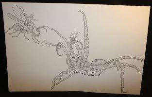 Ant-Man vs. HYDRA Spider with Mini-Gun Arms! Commission - LA - Signed Comic Art