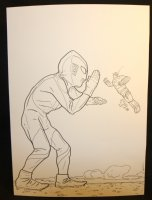 Ultraman vs. The Big Guy and Rusty the Boy Robot Commission - LA - Signed Comic Art