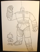 The Big Guy and Rusty the Boy Robot Striking a Pose Commission - LA - Signed Comic Art
