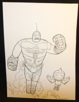 The Big Guy and Rusty the Boy Robot Flying Forward Commission - Signed Comic Art
