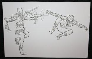 Deadpool vs. Spider-Man Commission - LA - Signed Comic Art
