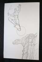 Daredevil Jumps Off Rooftop Commission - LA - Signed Comic Art