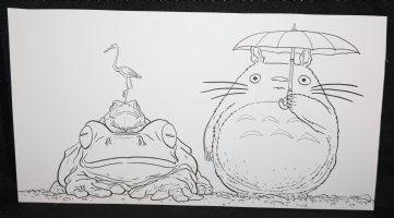 My Neighbor Totoro from Studio Ghibli with Umbrella, Two Toads, and a Stork Commission - Signed Comic Art