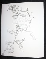 My Neighbor Totoro from Studio Ghibli on a Flower with a Flower in Hand Commission - LA - Signed Comic Art